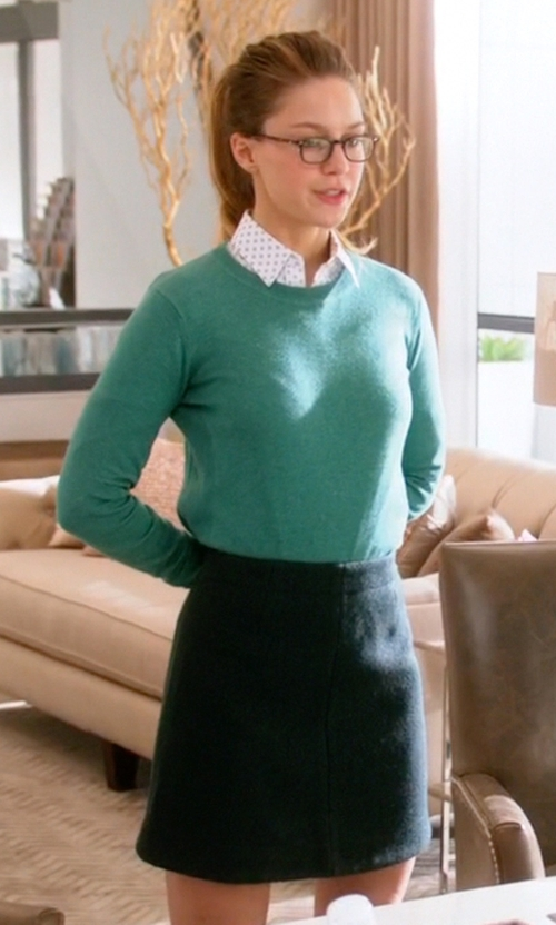 Melissa Benoist with Akris Punto  Jersey Pencil Skirt in Supergirl