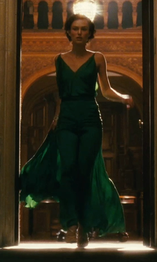 Keira Knightley with Jacqueline Durran (Costume Designer) Custom Made Silk Satin Emerald Green Gown in Atonement