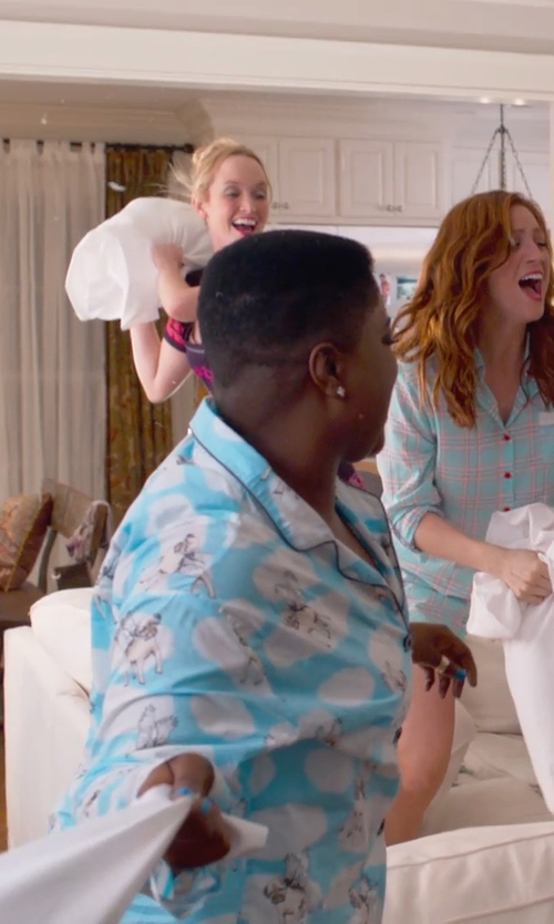 Ester Dean with Tom Franks Sheep Print Fleecy Pajama Set in Pitch Perfect 2