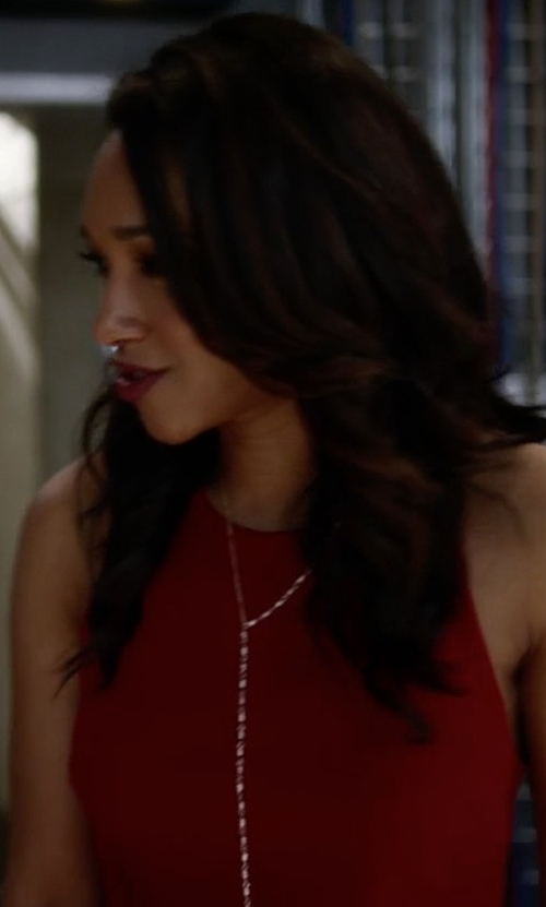 Candice Patton with Argento Vivo Tassel Y-Necklace in The Flash