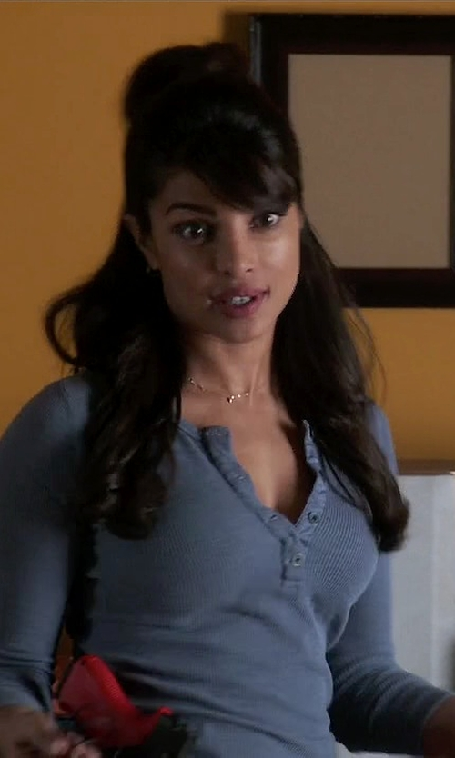 Priyanka Chopra with Columbia Weekday Waffle Thermal Henley Top in Quantico