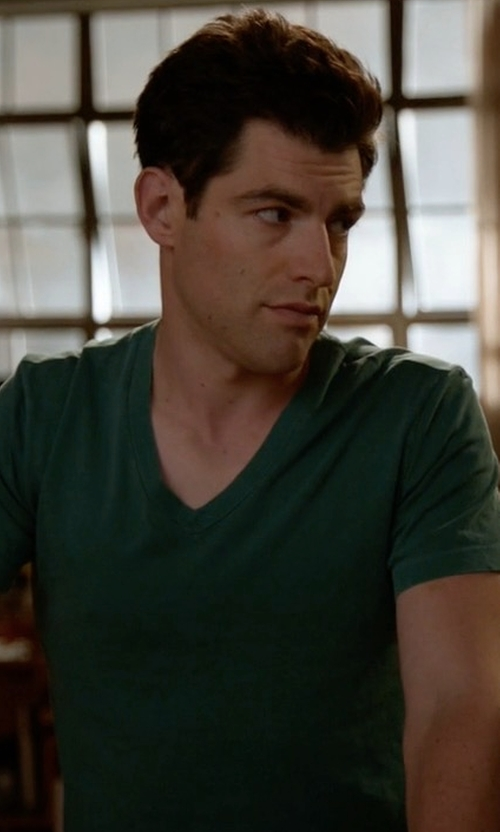Max Greenfield with Burberry Lindon Jersey V-Neck T-Shirt in New Girl