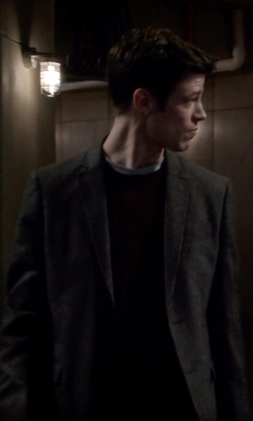 Grant Gustin with John Varvatos Townsend Houndstooth Jacket in The Flash