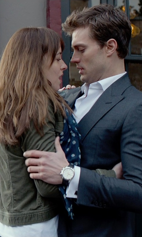 Jamie Dornan with Omega Aqua Terra Silver Dial Brown Leather Mens Watch in Fifty Shades of Grey