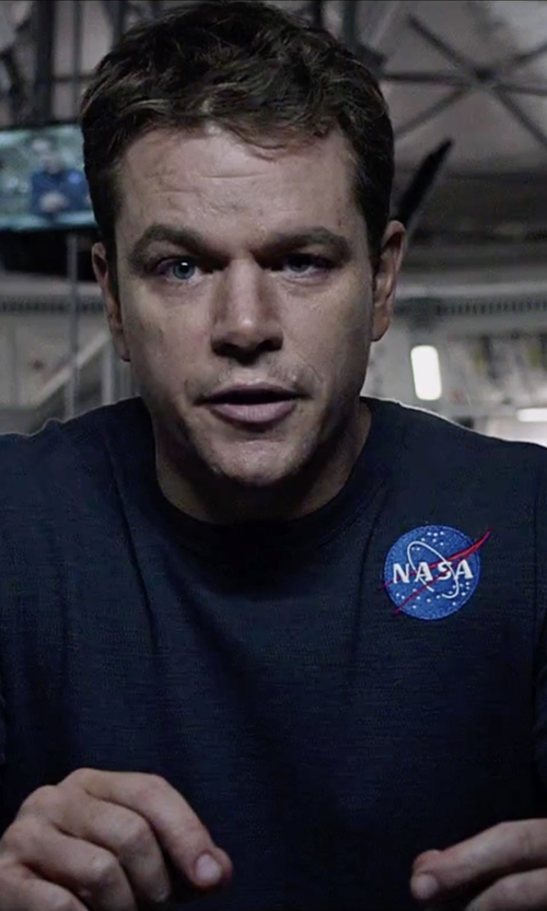Matt Damon with CafePress NASA Logo T-Shirt in The Martian