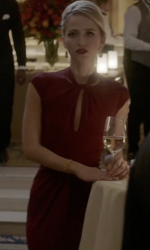 Johanna Braddy with Jovani Beaded Laced Stretch Jersey Gown in Quantico