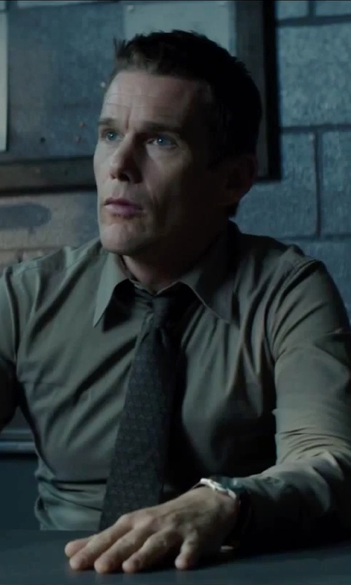 Ethan Hawke with Tommy Hilfiger Charlie Black Leather Strap Watch in Regression