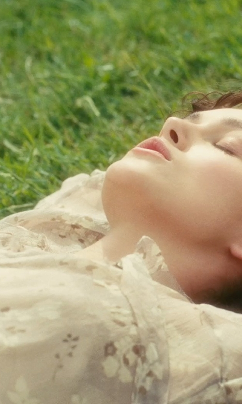 Keira Knightley with Jacqueline Durran (Costume Designer) Custom Made Sheer Floral Blouse in Atonement