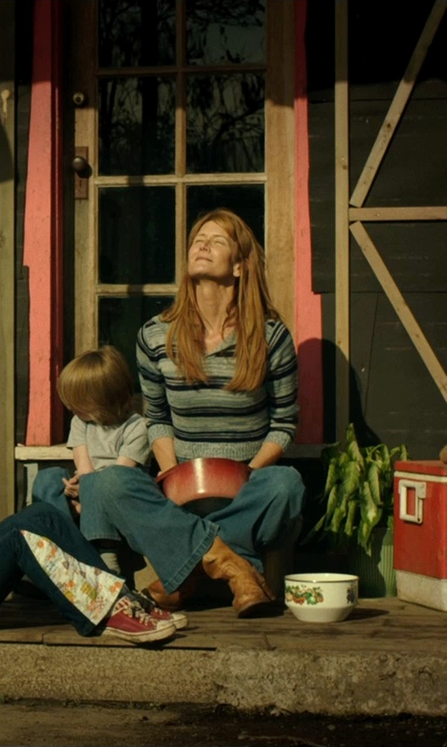 Laura Dern with Marc New York by Andrew Marc Performance Mineral Washed Striped Shirt in Wild