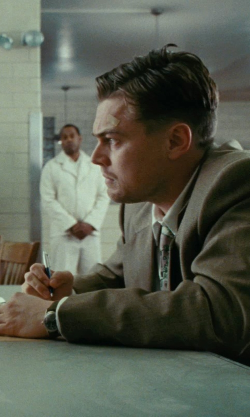 Leonardo DiCaprio with TAG Heuer Carrera Black Leather Strap Watch in Shutter Island