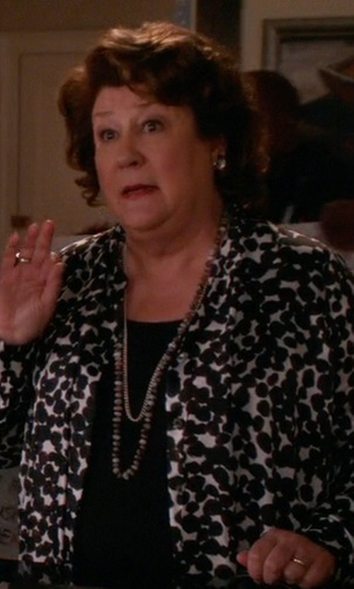 Margo Martindale with Crystal Avenue Silver-Plated Crystal & Simulated Pearl Long Necklace in The Good Wife