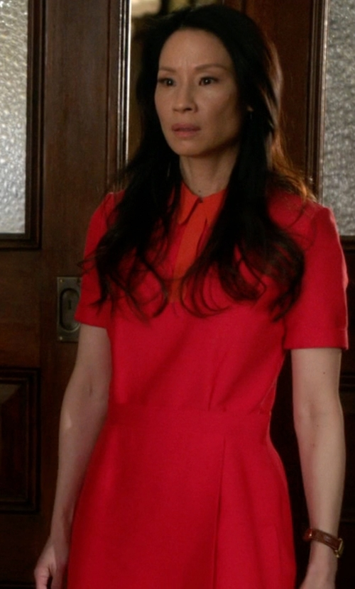 Lucy Liu with Victoria Beckham Contrast-Collar Cady Dress in Elementary