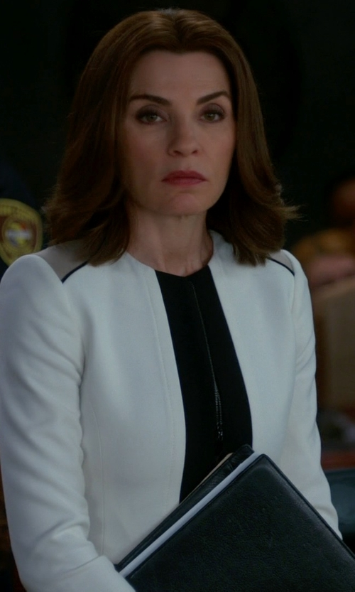 Julianna Margulies with Maykool Color Block Open Front Blazer in The Good Wife