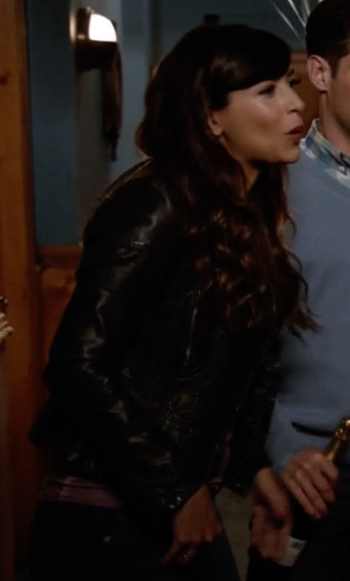 Hannah Simone with Ovi Moto Jacket in New Girl