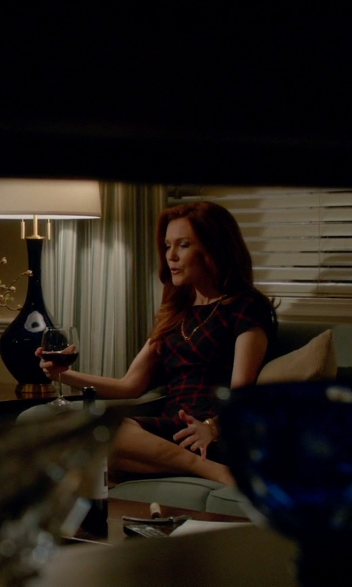 Darby Stanchfield with Aqua Plaid Bodycon Dress in Scandal