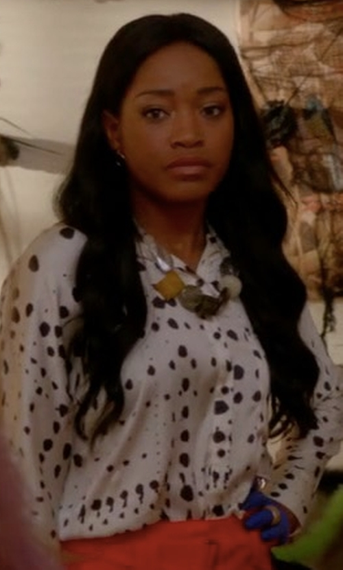 Keke Palmer with Rebecca Taylor Dandelion Printed Silk Shirt in Scream Queens