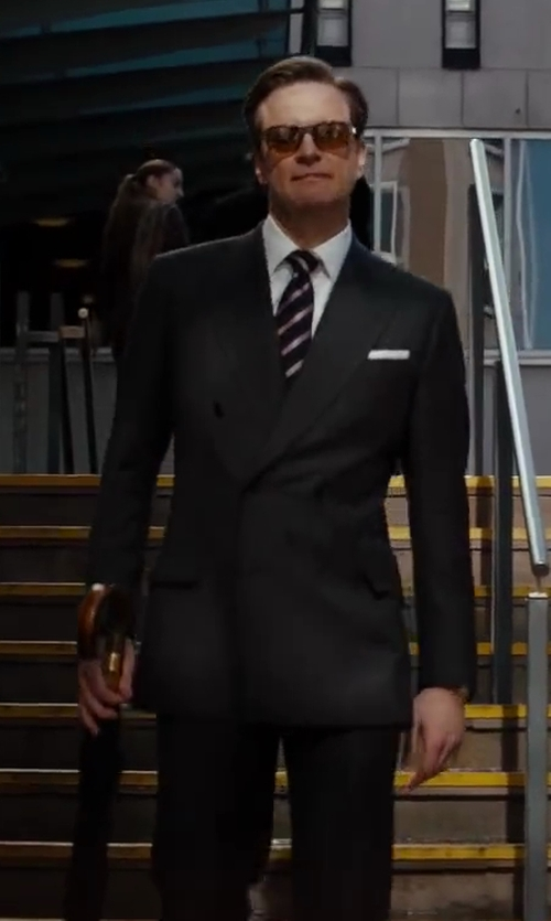 Colin Firth with Kingsman for Mr. Porter Navy Double-Breasted Pinstripe Suit in Kingsman: The Secret Service