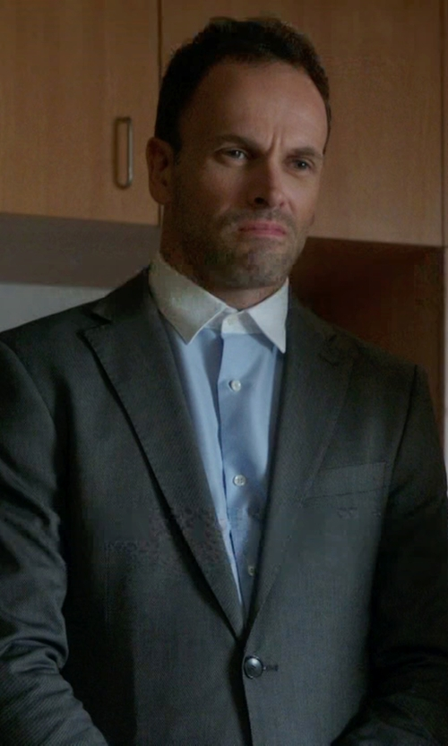 Jonny Lee Miller with Cego Custom Made Contrast Collar Dress Shirt in Elementary