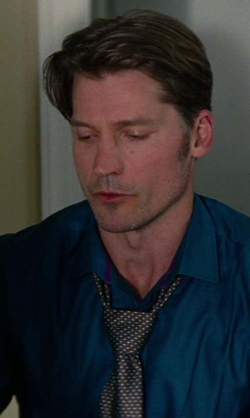 Nikolaj Coster-Waldau with Forzieri Micro Square Dots Woven Silk Tie in The Other Woman