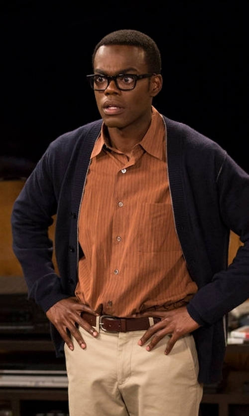 William Jackson Harper with Saks Fifth Avenue Collection Tumbled Leather Belt in The Good Place