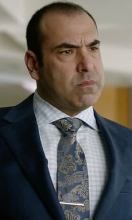 Rick Hoffman with Turnbull & Asser Slim-Fit Check Cotton Shirt in Suits