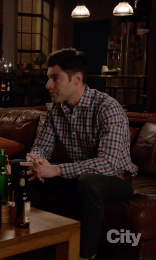 Max Greenfield with Michael Bastian Trim Fit Plaid Flannel Shirt in New Girl
