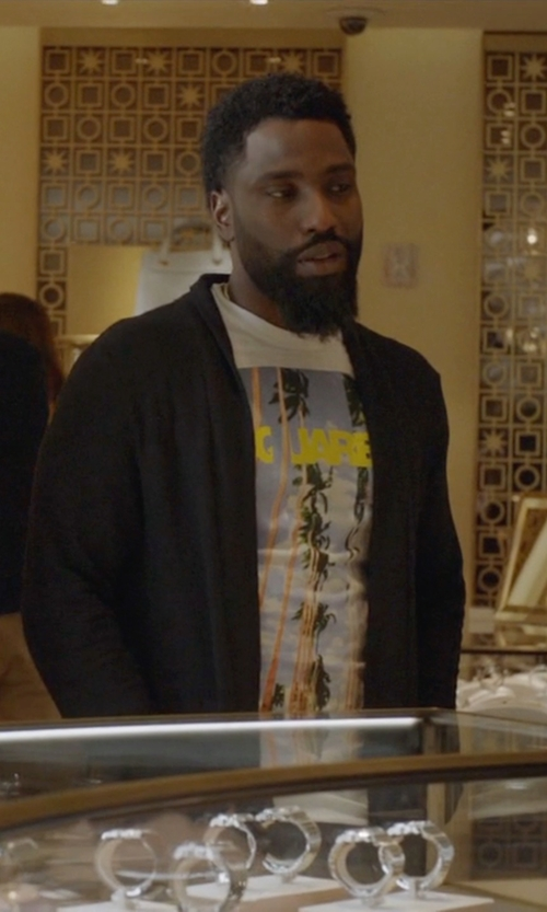 John David Washington with All Saints Mode Merino Open Cardigan in Ballers