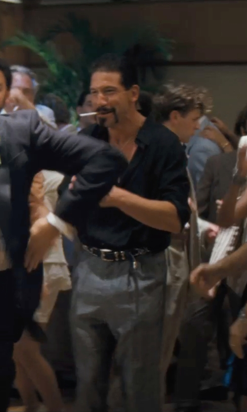 Jon Bernthal with Saint Laurent Pleated-Front Tuxedo Shirt in The Wolf of Wall Street