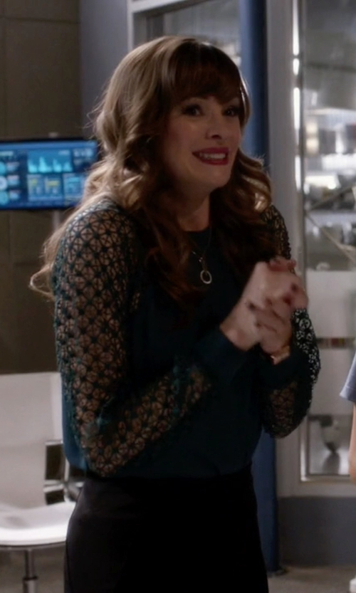 Danielle Panabaker with Pinko Stretch Lace Sleeve Blouse in The Flash