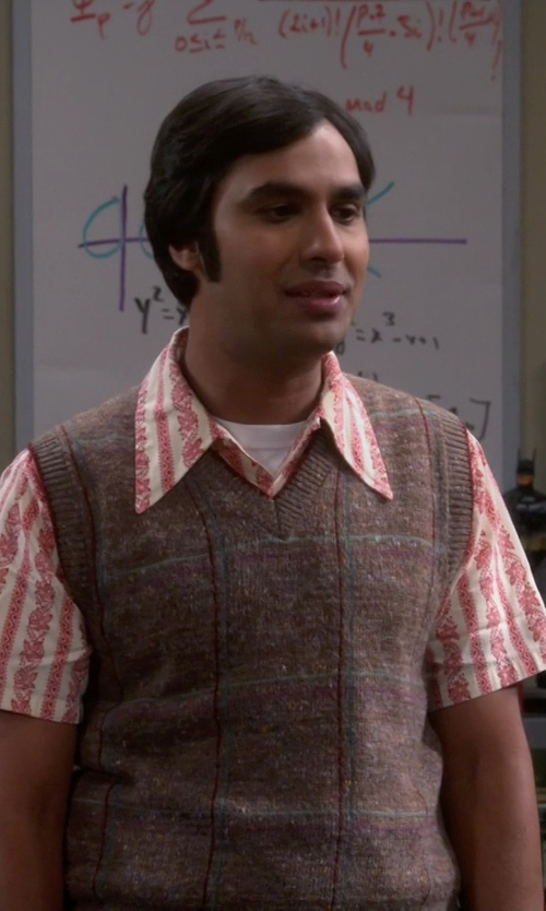 Kunal Nayyar with Pendleton Printed Button Down Fitted Camp Shirt in The Big Bang Theory