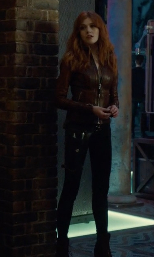 Katherine McNamara with DL1961 Crawford Moto Skinny Jeans in Shadowhunters