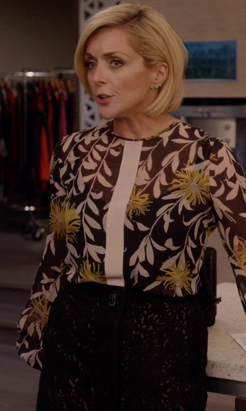 Jane Krakowski with Givenchy Floral Lace Pencil Skirt in Unbreakable Kimmy Schmidt