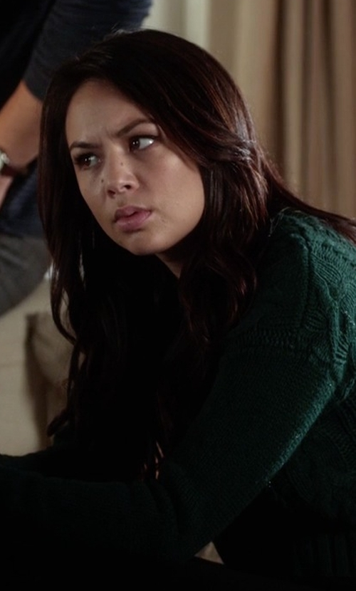 Janel Parrish with Knot Sisters Purba Sweater  in Pretty Little Liars