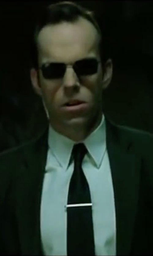 Hugo Weaving with Brioni Solid Silk Satin Tie in The Matrix