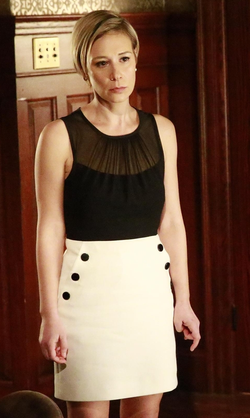 Liza Weil with NO. 21 Gertrude Button-Detail Skirt in How To Get Away With Murder