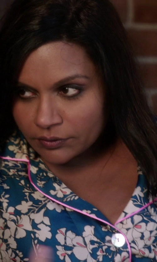 Mindy Kaling with Bedhead Snapdragons Silk Cassic Pajama Set in The Mindy Project