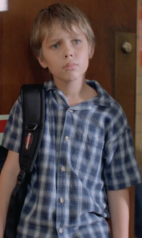 Ellar Coltrane with Urgent Gear Short Sleeve Woven Plaid Shirt in Boyhood