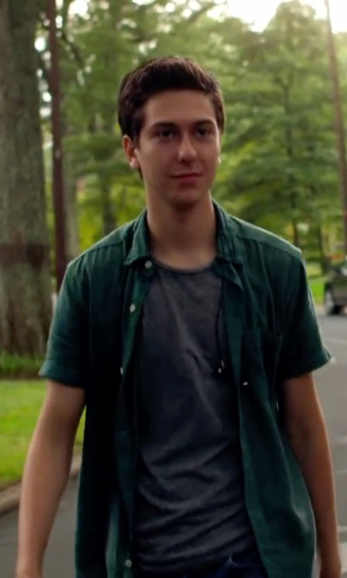 Nat Wolff with Van Heusen Short Sleeve Oxford Cloth Shirt in Ashby