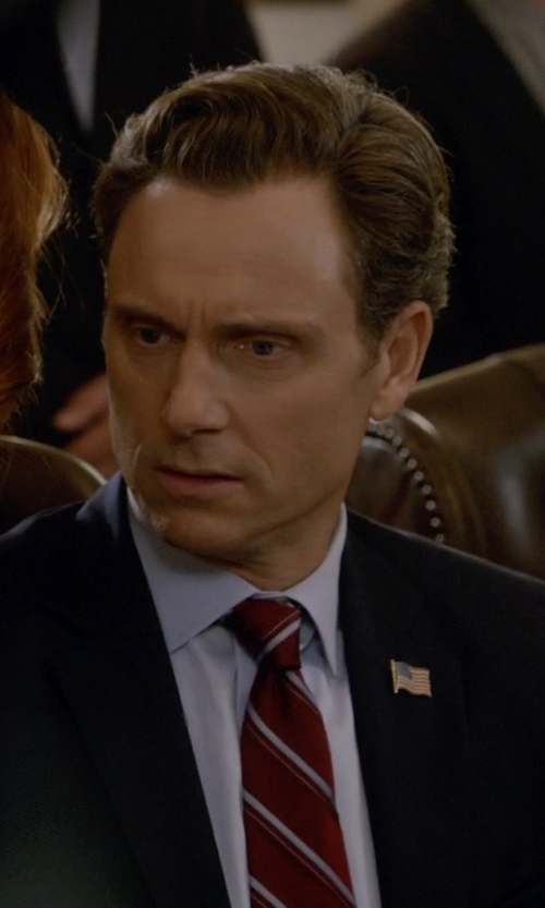 Tony Goldwyn with Brooks Brothers Satin Double Stripe Tie in Scandal