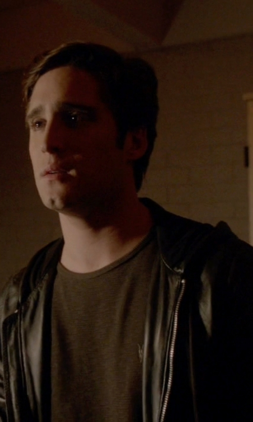 Diego Boneta with Diesel L-Akura Leather Jackets in Scream Queens