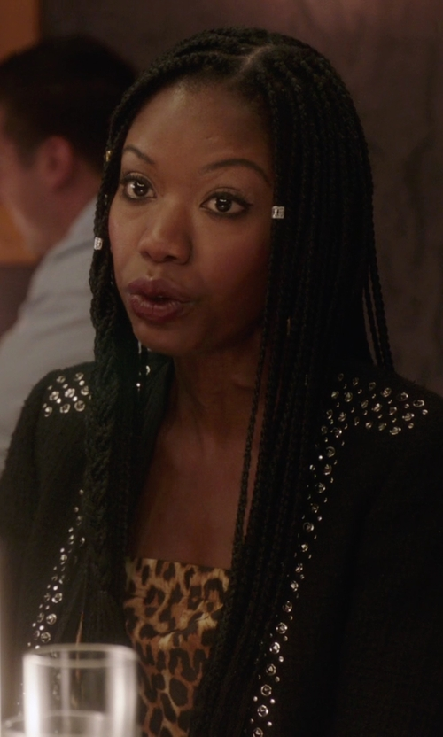 Xosha Roquemore with Rebecca Taylor Studded Cropped Jacket in The Mindy Project