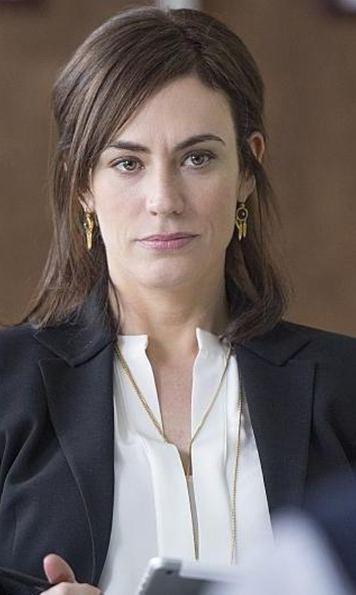 Maggie Siff with Derek Lam White Silk Nehru Collar Blouse in Billions
