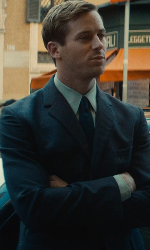 Armie Hammer with Hickey Freeman Beaded Multi-Tonal Stripe Suit in The Man from U.N.C.L.E.