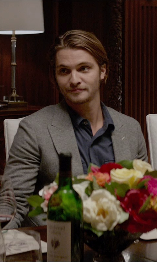 Luke Grimes with Armani Collezioni Textured Solid Dress Shirt in Fifty Shades of Grey