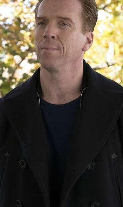 Damian Lewis with Tomas Maier Double-Breasted Wool-Blend Coat in Billions
