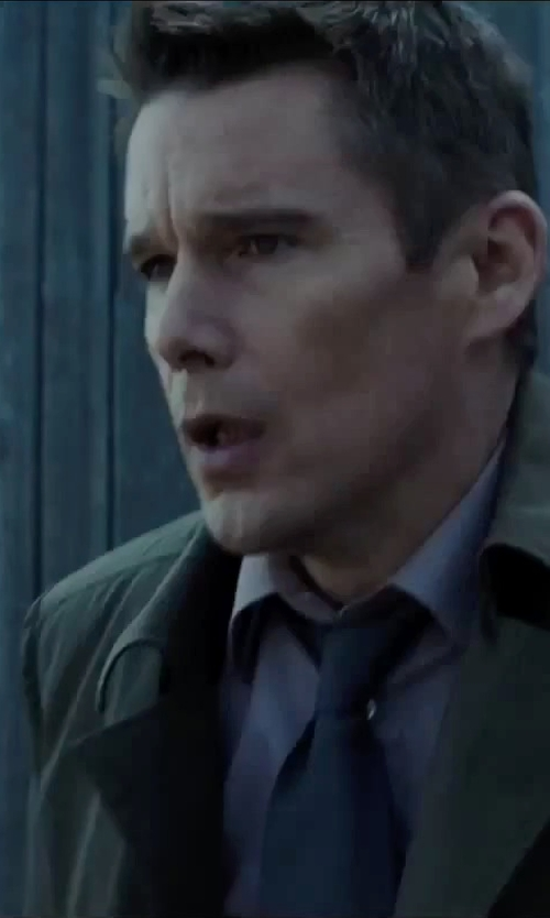 Ethan Hawke with Bar III Solid Satin Slim Tie in Regression