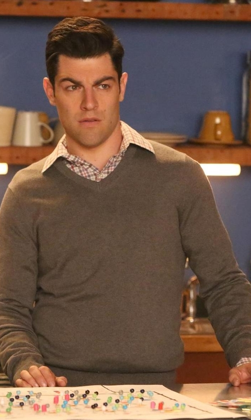 Max Greenfield with Everlane The Cashmere V-Neck Sweater in New Girl