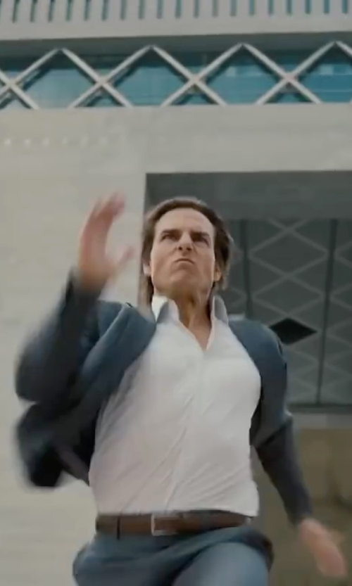 Tom Cruise with Armani Jeans Leather Belt with Contrast Buckle in Mission: Impossible - Ghost Protocol