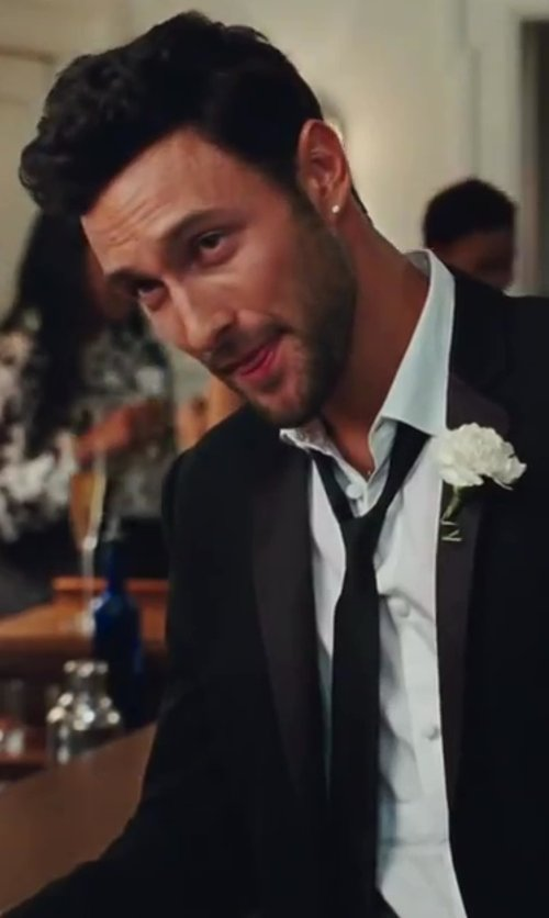 Noah Mills with David Donahue Tonal Solid Trim Fit Tuxedo Shirt in Sex and the City 2