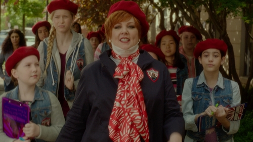 Melissa McCarthy with Eileen Fisher Hooded Shell Jacket in The Boss